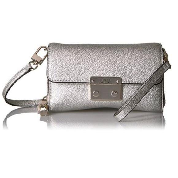 Guess Handbags - Mini SILVER Metallic Crossbody Wristlet Clutch Bag